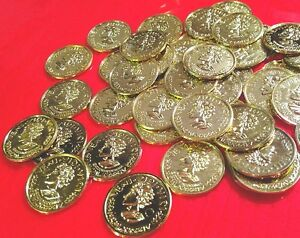 Lot 19 toy plastic coin GOLD Pirate Doubloons Treasure Roman pretend money token