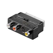 TV Scart Adapter AV 1x SVHS 3x Cinch Chinch & S-Video Buchse mit IN/OUT Schalter