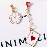 Clock Poker Asymmetric Dangle Earrings Dreamy Ear Stud Trendy Jewelry Gifts