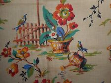 Antique Floral Garden Bird Cotton Fabric ~ Tangerine Blue Green Red Brown Tan