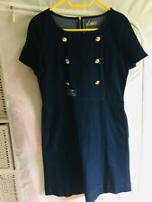 New Oasis Ladies Denim Skater Dress with Gold Button Detail UK 14