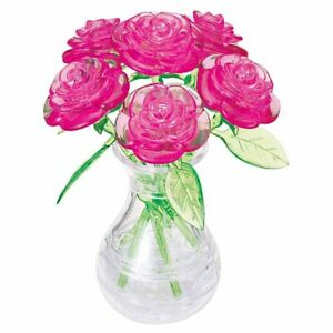 3D SIX PINK ROSES CRYSTAL PUZZLE JIGSAW ASSEMBLY FLOWER DESIGN OFFICE DISPLAY