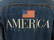 VTG  PERRY ELLIS  American Flag Logo Denim Spell Out Jean Jacket Extra Large XL