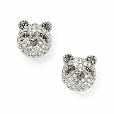 FOSSIL Brand Party Animals Pave Mini Panda Bear Silver-Tone Earrings $38
