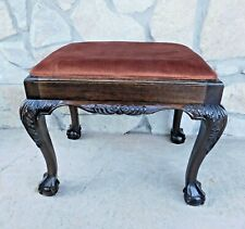 New listing Antique Wood Bench Ball & Claw Carved Cabriole Leg Chippendale Style Stool Bench
