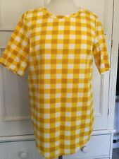 COS, UK SIZE 14/ EUR 40. YELLOW AND WHITE GINGHAM PATTERN TOP.
