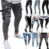 Men Denim Slim Fit Pants Skinny Ripped Casual Jeans Bottom Stretch Long Trousers