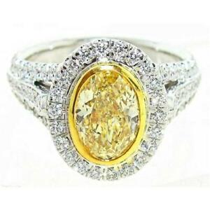2.95 CT. Fancy Yellow Oval Shape Diamond 18k White Gold Ring. Certified by GIA
