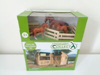 CollectA Model Horse Stable Playset + Thoroughbred Horse + 2 foals 89695 - NEW