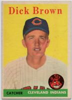 1958 Topps #456 Dick Brown EX-EXMINT Cleveland Indians Rookie FREE SHIPPING