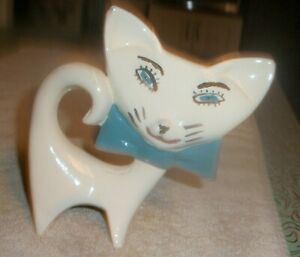 Vintage MCM Big Head Flat Face Cat Blue Bow chip to ear