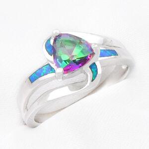 Hochzeit Geschenk 925 Sterling Silber Regenbogen Mystic Topas Feuer Blue Opal Ringgröße 8