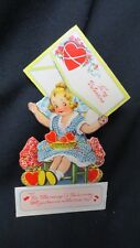 Vintage Darling Girl Knitting & envelope Valentine c. 1920s Germany unsigned