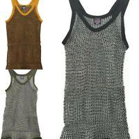 Mens & ladies string mesh vests, black, white fish net tank tweed, hiphop cotton