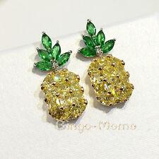 NEW 2017 Brilliant Pineapple Fashion Women Lady Elegant Zirconia Silver Earring