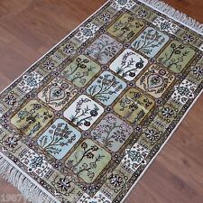 Yilong 2.5'x4' Four Seasons Floral Hand Knotted Carpets Silk Handmade Rugs 348B
