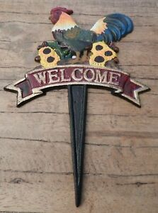 Cast iron Welcome stake sign Chicken Cockerel Rooster Garden ornament UK based