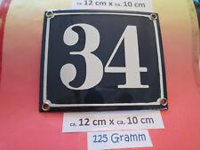 Hausnummer Emaille Nr. 34 weisse Zahl auf blauem Hintergrund 12 cm x 10 cm