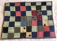 Vintage Patchwork Quilt Table Topper, Nine Patch, Early Calico Prints, Multi