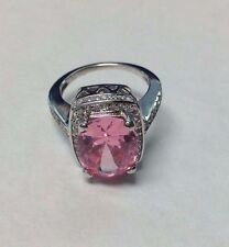 PINK TOURMALINE AND CUBIC ZIRCONIA LADIES 14KT WHITE GOLD RING