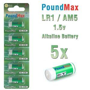 5 X Super  910A LR1 N Type MN9100 1.5V Alkaline PoundMax  Batteries