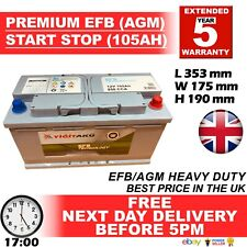 019 AGM Car Battery 105ah 100ah 95ah 900cca 5yr Warranty STOP START S5A13 EK950