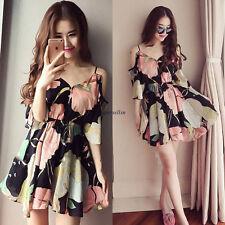 Korean Women Chiffon Off Shoulder Empire Waist Slim Tunic Summer Dress Sundress