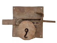 Serrure de Porte Ancienne & sa Clef en Fer Forgé Art Populaire Antique Door Lock