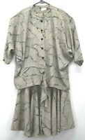 Lady Carol of New York Womens Vintage 2 Piece Button Blouse & Long Skirt