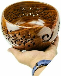Rosewood Crafted Wooden Yarn Storage Bowl with Carved Holes & Drills   Knitting
