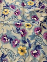 """Vintage Satin like, flannel backed floral Fabric 109"""" x 60"""""""