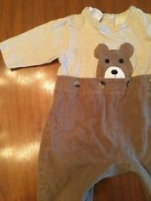 Sweet Potatoes Vintage Baby One Piece 6 Mo. Brown Bear Corduroy Zipper Crotch