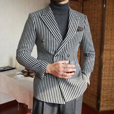 Men's Black Striped Gray Blazer Double-breasted Formal Prom Peak Lapel Suit