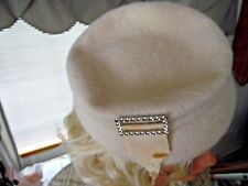 vintage women's hat 1950s Henry Pollack Wool Pillbox Hat With Rhinestone Buckle