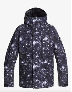 Quiksilver Mission Men's Jacket Ski Snow True Black Woodflakes NEW Large