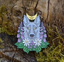 Cute wolf dog soft enamel pin badge brooch witch pastel goth moon floral boho