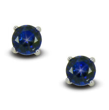 Dark Sapphire Blue 9K 9ct White Gold Filled Stud Earrings Womens Mens 7mm BE815