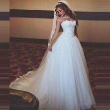 Simple 2017 White/Ivory  A Line Wedding Dresses Tulle Bridal Gowns Size4+6+8+10+