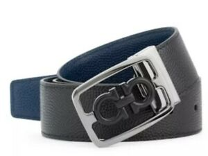 NWT Salvatore Ferragamo $430 Encased Gancini Leather Belt, Black/Navy Size 34