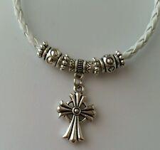 Retro Fashion Unisex White Leather Bracelet Cross Charm Silver Jewelry USA