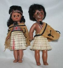 Vintage Native Tribal Painted Family Set of 3 Doll Grass Skirt Hard Plastic #a