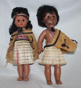 Vintage Tribal Painted Family Set  Doll Grass Skirt Hard Plastic Vtg Pair