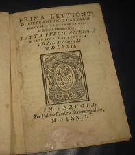 1572 Pietro Antonio Cataldi  Prima lettione di Matematica. Geometria. Perugia.