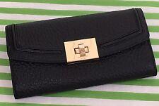 New Kate Spade Everett Way Jean Black Envelope Turn-lock Leather Wallet Clutch