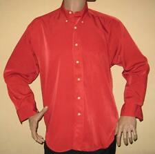 Una volta indossati da Uomo Rosso Manica Lunga Tessuto Setoso Shiny RHODES Camicia Medio 38/40 Ches