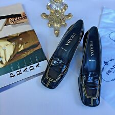 Women's PRADA Black Patent Leather Square Toe Loafers Heels Size 8 1/2