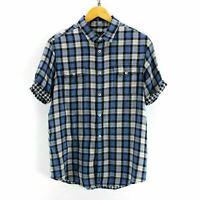 Ben Sherman Men's Shirt Size L in Blue Short Sleeve Check Cotton Shirt CD2069