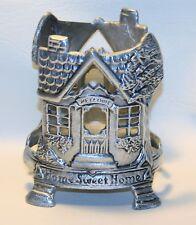 """Vintage """"Home Sweet Home"""" Pewter Jar Candle Holder Cottage Chic"""