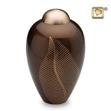 Bronze Elegant Leaf Adult Funeral Cremation Urn, 180 Cubic Inches