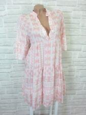 NEU Blogger Hängerchen Kleid Tunika Volant Print 36 38 40 42 Weiß Rosa K174